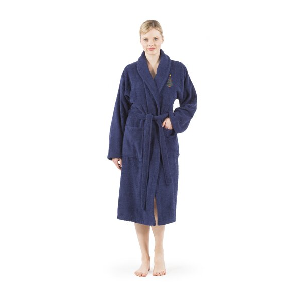 Christmas Embroidered 100% Turkish Cotton Bathrobe by The Holiday Aisle
